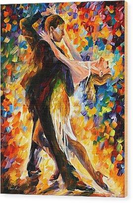Midnight Tango Wood Print by Leonid Afremov