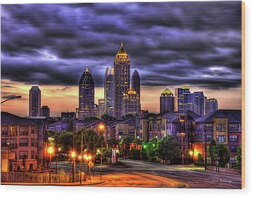 Midtown Atlanta Towers Over Atlantic Commons Wood Print by Reid Callaway
