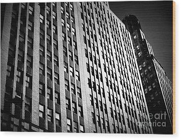 Midtown Noir Wood Print by John Rizzuto