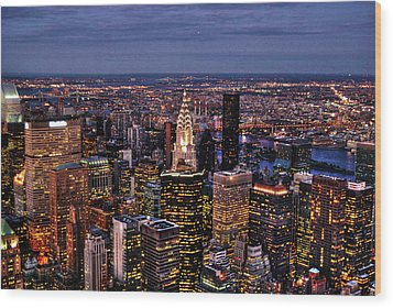 Midtown Skyline At Dusk Wood Print by Randy Aveille