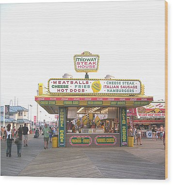 Midway Steak House - The Boardwalk At Seaside Wood Print by Bob Palmisano