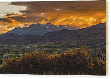 Midway Utah Sunset Wood Print
