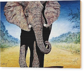 Wood Print featuring the painting Mighty Elephant by Hartmut Jager
