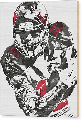 Wood Print featuring the mixed media Mike Evans Tampa Bay Buccaneers Pixel Art by Joe Hamilton