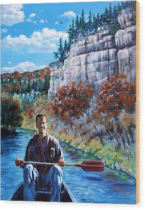 Mike On Float Trip Wood Print by John Lautermilch