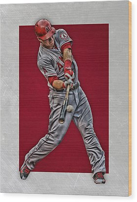 Mike Trout Los Angeles Angels Art 1 Wood Print by Joe Hamilton