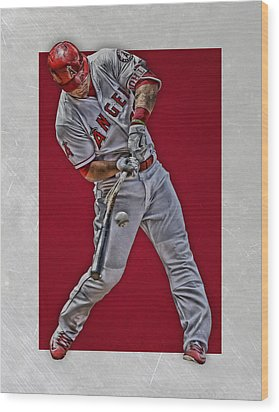 Mike Trout Los Angeles Angels Art 2 Wood Print by Joe Hamilton
