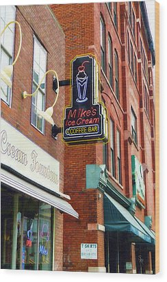 Wood Print featuring the painting Mike's Ice Cream And Coffee Bar by Sandy MacGowan