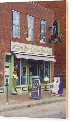 Wood Print featuring the painting Mike's Ice Cream Fountain by Sandy MacGowan