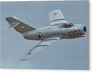 Wood Print featuring the photograph Mikoyan-gurevich Mig-15 Nx87cn Chino California April 30 2016 by Brian Lockett