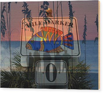Wood Print featuring the photograph Mile Marker 0 Sunset by David Lee Thompson