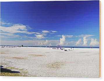 Wood Print featuring the photograph Miles And Miles Of White Sand by Gary Wonning