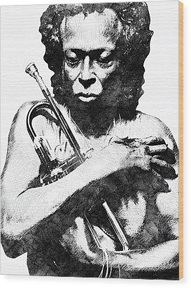 Miles Davis Bw  Wood Print by Mihaela Pater
