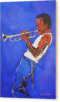 Miles Davis-miles And Miles Away Wood Print by Bill Manson