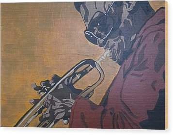 Wood Print featuring the painting Miles Davis by Rachel Natalie Rawlins