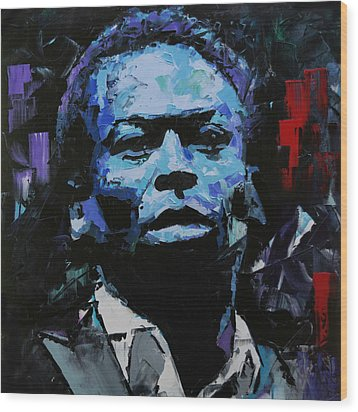 Wood Print featuring the painting Miles Davis by Richard Day