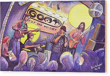 Wood Print featuring the painting Miles Guzman Band by David Sockrider