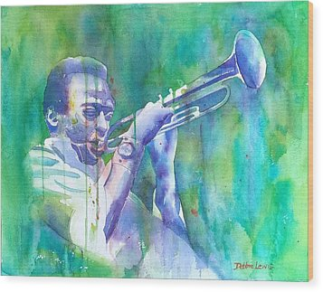 Miles Is Cool Wood Print by Debbie Lewis
