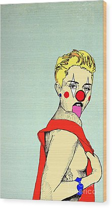 Wood Print featuring the drawing Miley Cyrus by Jason Tricktop Matthews