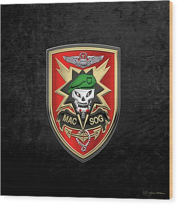 Military Assistance Command, Vietnam Studies And Observations Group Patch Over Black Velvet Wood Print by Serge Averbukh