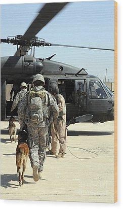Military Working Dog Handlers Board Wood Print by Stocktrek Images