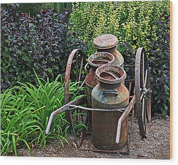 Wood Print featuring the photograph Milk Pails by Judy Vincent