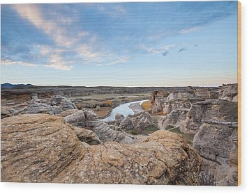 Wood Print featuring the photograph Milk River Sun Up by Fran Riley