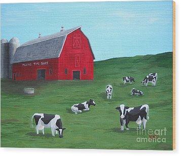 Milking Time Dairy Wood Print by Kerri Ertman