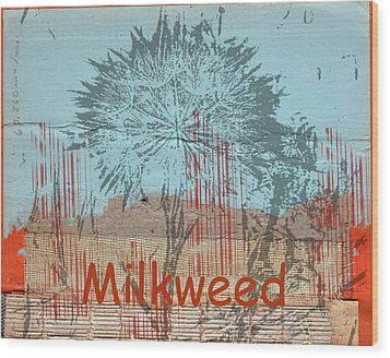 Milkweed Collage Wood Print by Cynthia Powell