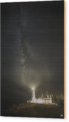 Milky Way At Pemaquid Light Wood Print