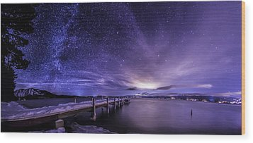 Milky Way Mountains Wood Print by Brad Scott