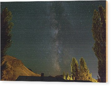 Milky Way Over Farmland In Central Oregon Wood Print