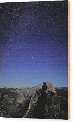 Milky Way Over Half Dome Wood Print