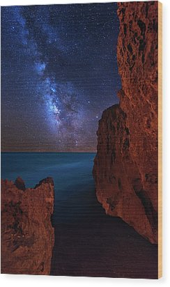 Milky Way Over Huchinson Island Beach Florida Wood Print by Justin Kelefas