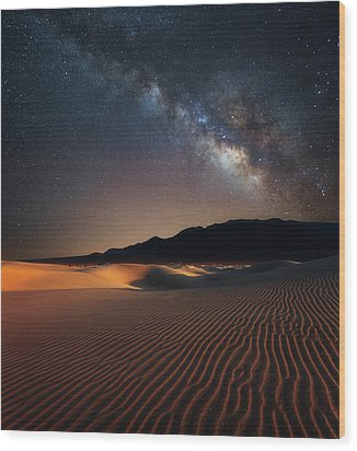 Wood Print featuring the photograph Milky Way Over Mesquite Dunes by Darren White