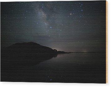 Milky Way Over Pamlico Sound Wood Print by Daniel Lowe