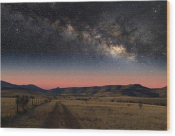 Milky Way Over Texas Wood Print