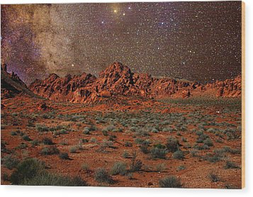 Milky Way Rising Over The Valley Of Fire Wood Print