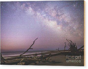 Milky Way Roots Wood Print by Robert Loe