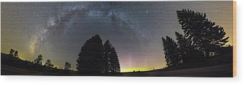 Wood Print featuring the photograph Milkyway And Northernlights Pano by Aaron J Groen