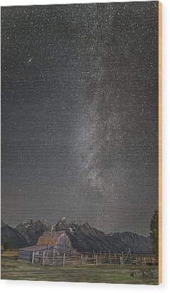 Milkyway Over The John Moulton Barn Wood Print by Roman Kurywczak