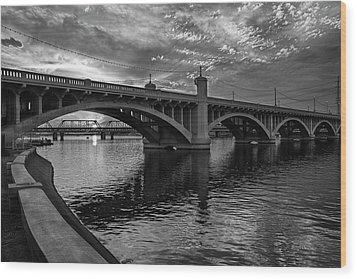 Wood Print featuring the photograph Mill Avenue Bridge At Sunset Black And White by Dave Dilli