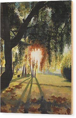 Mill Lake At Sunset Wood Print by Vivian  Mosley
