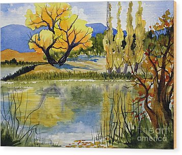 Mill Pond Autumn Wood Print by Pat Crowther