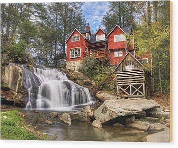 Mill Shoals Falls - Wnc Blue Ridge Waterfalls Wood Print by Dave Allen