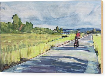 Mill Valley Bike Path Wood Print by Colleen Proppe