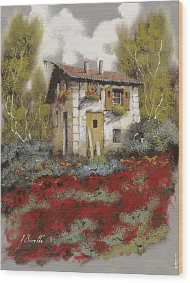 Mille Papaveri Wood Print by Guido Borelli