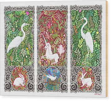 Wood Print featuring the drawing Millefleurs Triptych With Unicorn, Cranes, Rabbits And Dove by Lise Winne