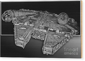 Millennium Falcon Attack Wood Print by Kevin Fortier
