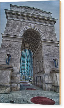 Millennium Gate Triumphal Arch At Atlantic Station In Midtown At Wood Print by Alex Grichenko